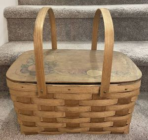 Vintage Large Wicker Rattan Bamboo Wooden Hinged Lid Swing Handles Picnic Basket for Sale in Chapel Hill, NC