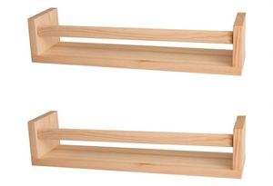 Nursery Shelves,Set of 2 Natural Wood Floating Wall Bookshelves for Kids,Nursery Book Shelves for Wall,Bathroom Decor, Kitchen Spice Rack (Burlywood) for Sale in Rancho Cucamonga, CA