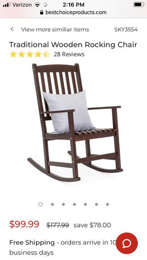 Traditional brown wooden rocking chair for Sale in Canal Winchester, OH