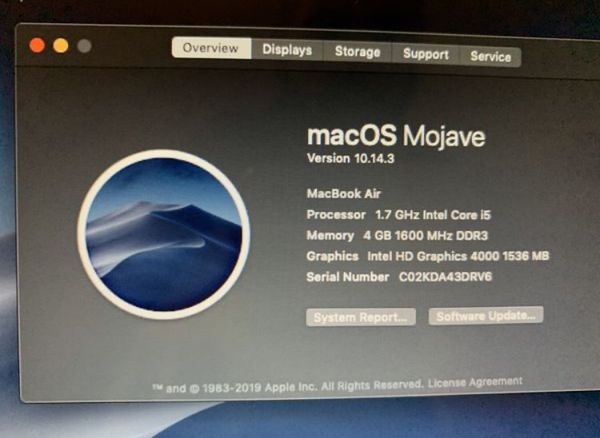 Apple Macbook Air (upgrade to MacOS Mojave)