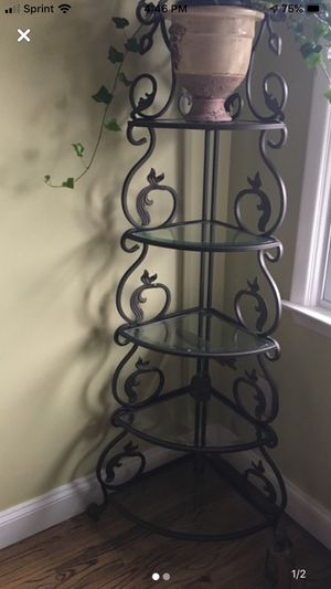 5 Tier corner etagiere wrought iron and glass! for Sale in Cortlandt, NY