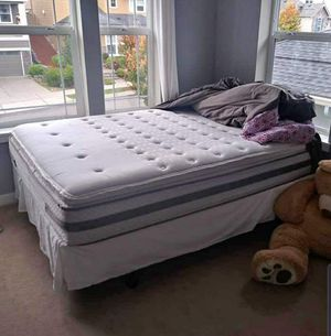 Excellent Queen Sealy Posturepedic Mattress with Box Spring And Bed Frame for Sale in Renton, WA