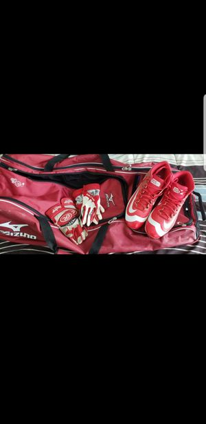 cleats sizes 12 baseball back, batting glove,only one day of use.. is new for Sale in Newington, CT