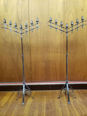 The Savoy Flea 1920's French Altar Floor Candelabras ~ Pair | The Savoy Flea for Sale in Woonsocket, RI