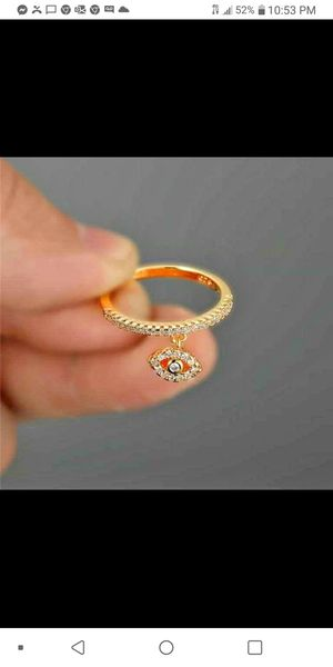 Simple eye dangle crystal ring, 925 silver with zirconia. for Sale in Homestead, FL