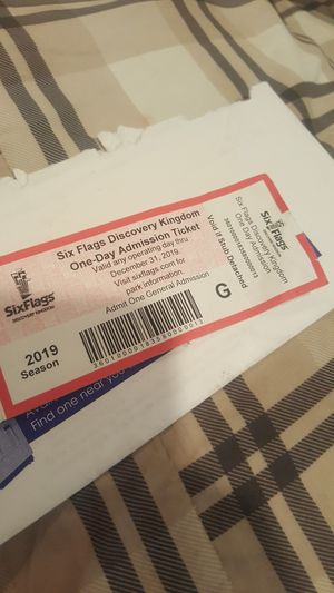 Ticket to Six~Flags,, in Vallejo $40. for Sale in Castro Valley, CA