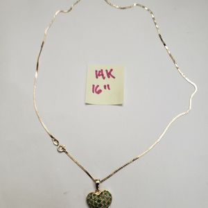 14K Solid Gold Chain and Pendant ( Emerald Stones ) for Sale in Hialeah, FL