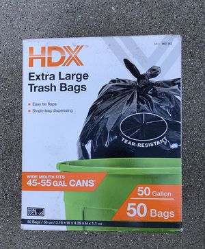 50 Gal Extra Large Black Trash Bags Garbage Yard Lawn Waste Heavy Duty 50 Count for Sale in Los Angeles, CA