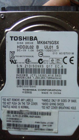 Toshiba 640 gb laptop hdd for Sale in Fresno, CA