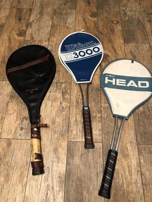 Lot of 3 tennis racket Spalding Wilson head vintage for Sale in Stockton, CA
