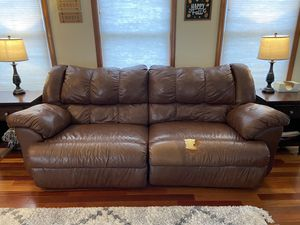 Leather reclining couch - pick up today! for Sale in Harrison City, PA