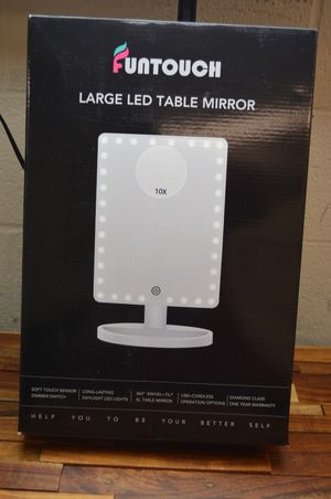 "Large lighted vanity makeup mirror funtouch light up mirror black 12"" x 9"" for Sale in Diamond Bar, CA"