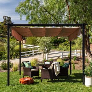 BRAND NEW 10x10ft Patio Weather-Resistant Pergola Shelter w/ Retractable Sun Shade Canopy, Steel Frame Backyard front yard Airbnb for Sale in Los Angeles, CA