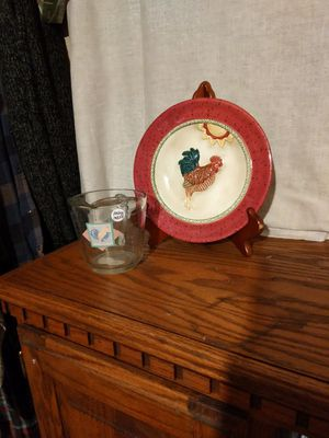 Rooster Dec plate with rooster measuring cup for Sale in Fort Worth, TX