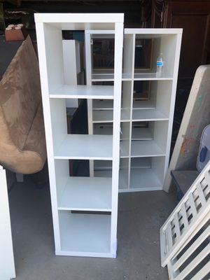 Tall white and tan storage shelves for Sale in Fort Worth, TX