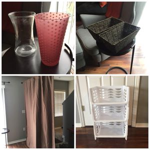 SEE DESCRIPTION FOR PRICING - 2 Brown Storage Baskets - 2 Glass Vases - White Stackable Storage Shelf - Blackout Curtain for Sale in Winter Springs, FL