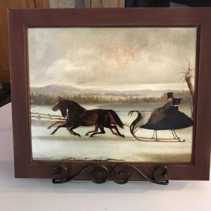 1850's Horse Sleigh Couple Oil Painting for Sale in Wallingford, CT