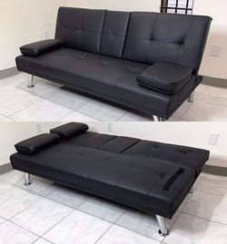 "New in box $190 Futon Sofa Bed Convertible Recliner Couch Living Room Furniture, Cup Holder (66x32x28"") for Sale in City of Industry,  CA"