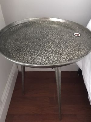 Decorative Indian Circular Silver Engraved Tray Coffee or Side End Table for Sale in Tamarac, FL