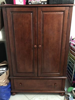 Cherry Wood Armoire- solid wood with shelves and hanging bar inside for Sale in Delray Beach, FL