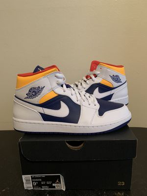 Air Jordan 1 Mid White Laser Orange Royal White Size 9.5 (Pick Up) for Sale in Fort Lauderdale, FL