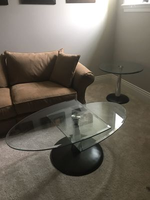 Glass coffee table set (2 items) metal base for Sale in East Amherst, NY