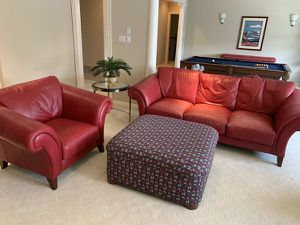 Red Leather Couch(es) and Ottoman for Sale in Federal Dam, MN