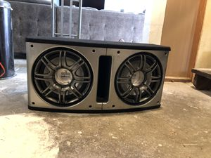 "Two 12"" Polk audio subwoofers with 1,200 watt Kenwood amp and box for Sale in Seattle, WA"