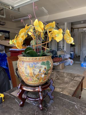 Oriental vase with stand and fake orchid flowers for Sale in Vista, CA