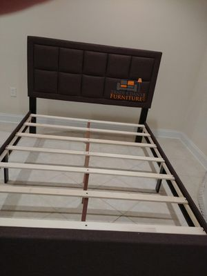 Brand New Queen Size Brown Linen Upholstered Platform Bed Frame for Sale in Wheaton-Glenmont, MD