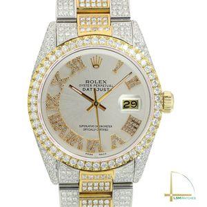 Rolex Datejust 36mm Mens TwoTone Silver Diamond Roman Fully Loaded Real Diamonds for Sale in Diamond Bar, CA