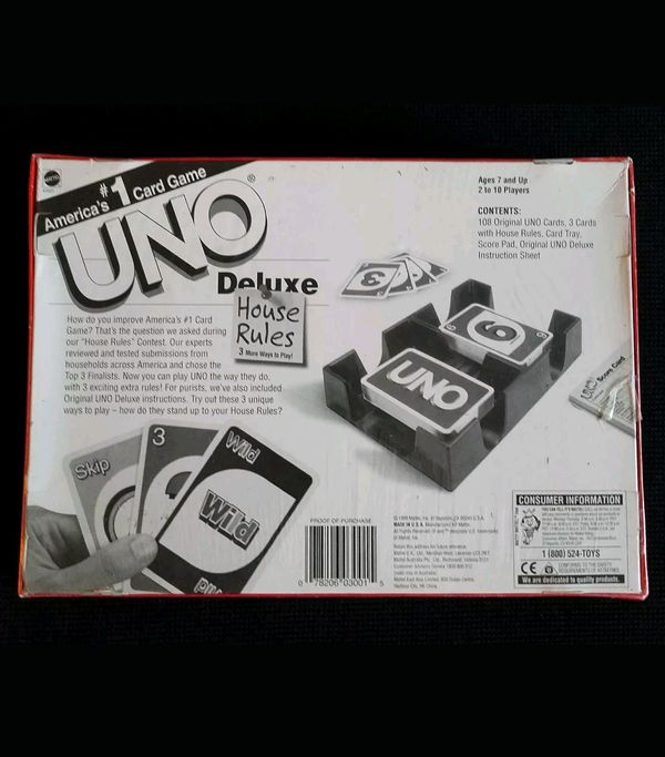 NEW! 1998 UNO Deluxe House Rules America's #1 Card Game Mattel Inc  for  Sale in Las Vegas, NV - OfferUp