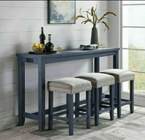4-Piece Blue Counter Height Table Set with USB Oulet for Sale in Diamond Bar, CA