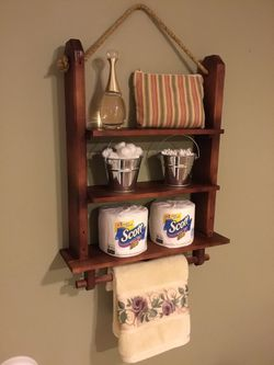 Bathroom Shelf Organizer Towel Rack Wooden Decor Hanging Wall Storage Shelves for Sale in Staten Island,  NY