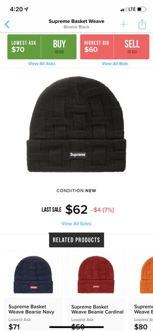 Supreme basket weave beanie for Sale in Anaheim, CA