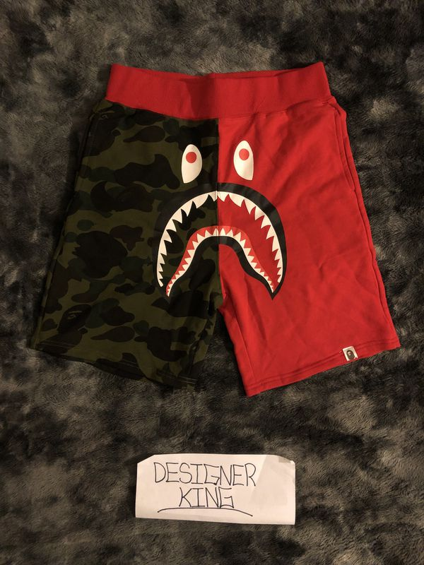 A BATHING APE RED AND GREEN CAMO