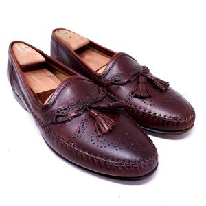 Santoni Men's Dress Shoes Brown Leather Wingtip Tasseled Brogue Loafers Italy Size 11 for Sale in Huntington Beach, CA