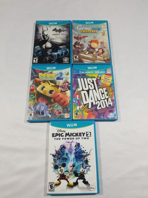 Nintendo Wii U Games Lot of 5 Just dance epic Mickey batman pacman scribblenauts for Sale in Winter Springs, FL