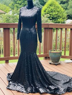 Mermaid Dress Sequin Rhinestones Long Train Long Sleeve Turtleneck Backless Open Back Slim Fit Ball Gown Dress Prom Wedding Special Occasion A-line for Sale in Gaithersburg,  MD