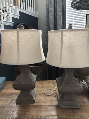 FIRM PRICE ** Pair new lamps and linen type shades for Sale in San Antonio, TX