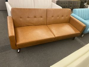 Camel Faux Leather Sofa Futon, with Wooden Legs Modern Design Retails $349, Our Price $269TM* for Sale in Houston, TX