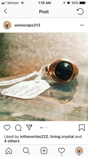 Moss Agate Wire Wrapped Ring Custom sizes available for Sale in Detroit, MI