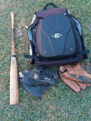 Baseball gear Easton bat bag 2 gloves bat is 33 inch for Sale in Fullerton, CA
