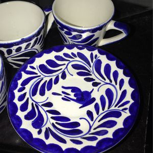 Grandmug Pueblo Blue 6 Mugs And Saucers for Sale in Indio, CA