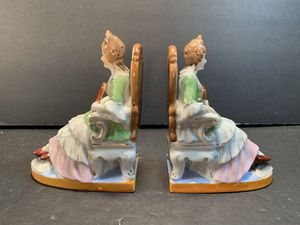 "Antique (1950s) Victorian Japanese Handpainted Porcelain Bookends (Height: 6-1/2"") for Sale in Dade City, FL"
