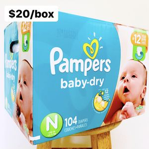 Newborn (Up to 10 lbs) Pampers Baby Dry (104 diapers) - $20/box for Sale in Anaheim, CA