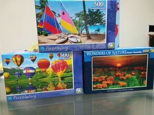 Exercise your mind! (3) NEW 500 Piece Puzzles--FREE for Sale in Charlotte, NC