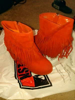 Women's 8.5 Orange Fringe Wedge Bootie for Sale in Lanham, MD