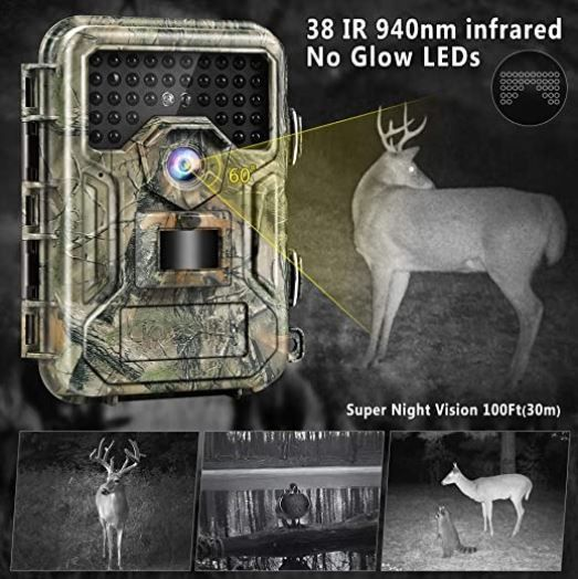 Trail Game Camera 16MP 1080P - 0.3s Trigger Time & No Glow Night Vision