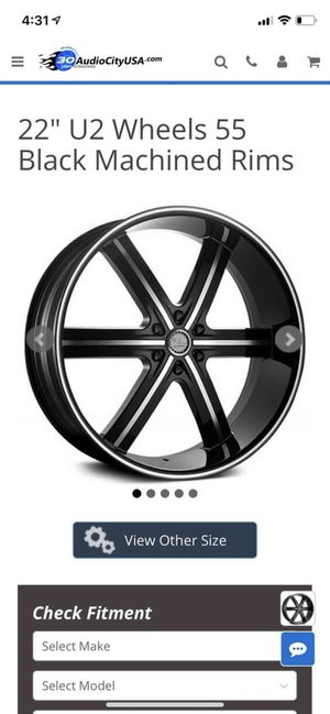 "22"" Rims and tires U2 black machined Rims for Sale in Fort Lauderdale, FL"